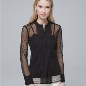 WHBM Black Blouse Mesh sheer top Size XXS